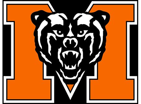 Mercer University Athletics logo - Block M with a Bear head